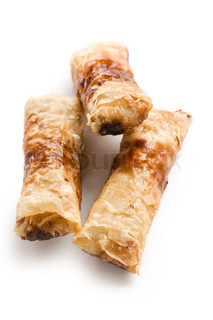 the spring rolls on a white background