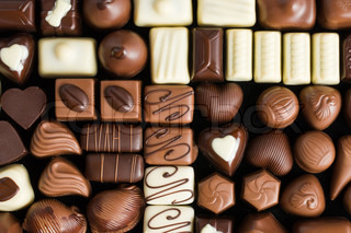 photo shot of various chocolate pralines