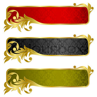 banners with gold frame