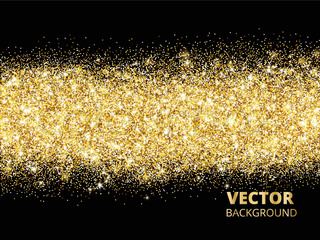 sparkling glitter border on black festive background with vecto