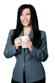Smiling friendly businesswoman holding a coffee mug over white background