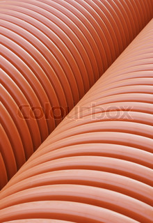 Plastic drainage pipes stacked - sewage conduit