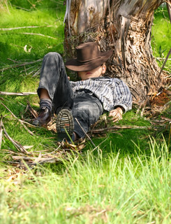 A child sleeps under a gum tree in a secluded spot on the northern slopes of the range