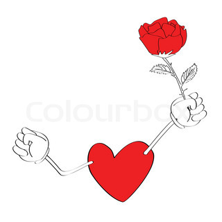 heart with arm holding a rose, please check my profile for similar drawings