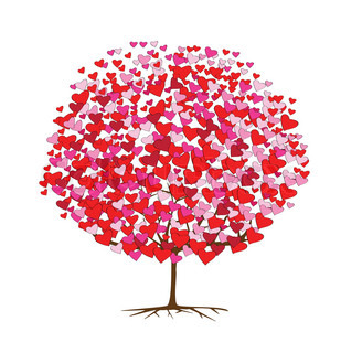 illustrations of tree with hearts for valentine's day