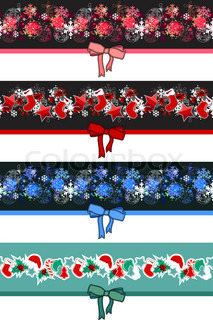 Different Christmas seamless borders with bow