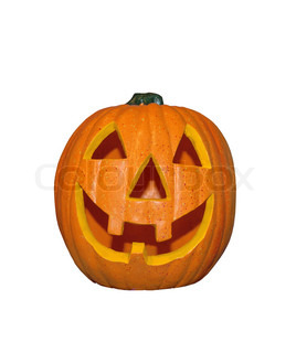 Funny decorative halloween pumpkin isolated on white background