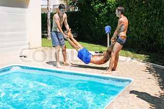 their friend to swimming pool