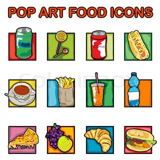 Klassische clip art Symbole mit Cheeseburger, Pizza, Bier, Limo , Kaffee, Lutscher, Saft, Croissant, französisch , Pommes frites, Obst, Pop-Art Retro-Grafik