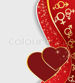 Two hearts with golden stars and symbols, Valentine's Day vector card.