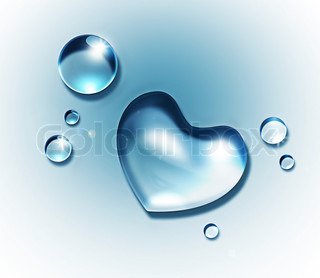 water drop forming a heart shape on a light background