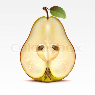Half a yellow pear on a white background