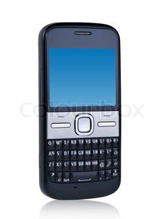 Handy auf weißem Hintergrund mit Reflexion