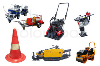 The image of different kind of road construction machines and equipment