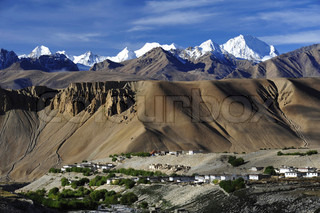 Image of 'a Tibetan village on the foot of a snow montain, mpc2012, on the way tu Nepal'