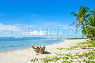 Old fisherman boat with anchor on the tropical palm beach