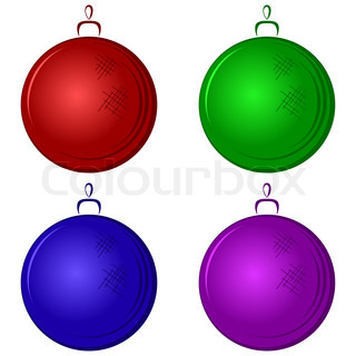 Christmas tree decoration: multicolored glass balls, isolated