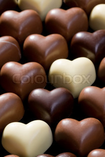 the sweet chocolate hearts background