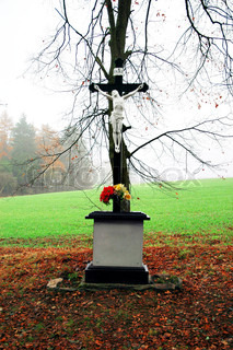 Cross with a statue of Jesus Christ, Czech Republic