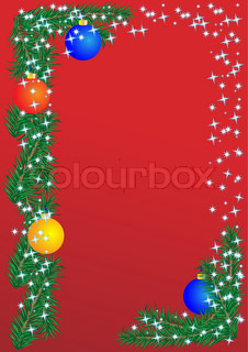 Christmas border on the red background, postcard, frame Vector Illustration