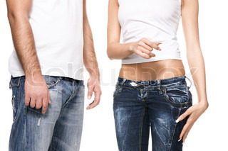 Fit male and female torso in jeans and white shirts
