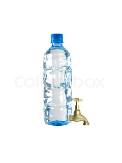 A water bottle with a tap against a white background