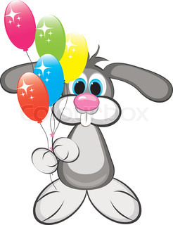 Cartoon rabbit with colorful balloons Illustration on white background