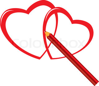 Red pencil and heart Illustration on white background