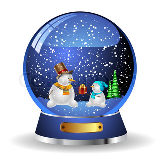 Illustration snow globe with a christmas tree and snowman within. Vector.