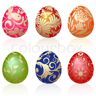 Set of six Easter eggs with gold ornaments