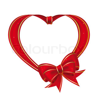 Heart with bow from red ribbonon a white background