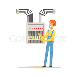 professional electrician service promotional poster with man in fuse box toys electrician engineer screwing equipment in fuse box, electric man performing electrical works vector illustration