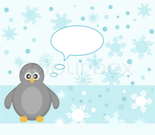 Cute penguin winter snowflake background greeting card vector