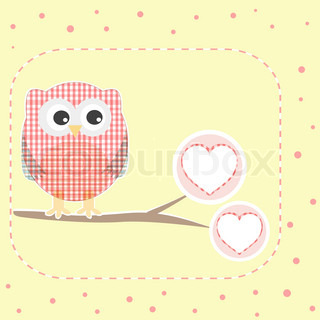 vector autumn love background with textile owls sitting on branch with heart