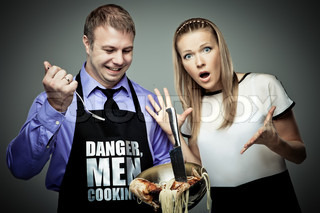 Man cooking some strange things and his wife is shocked