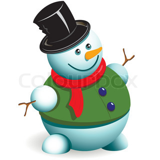 illustration, new year's snowman in hat on white background