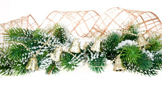 Border from Christmas tree branch and decorations on white background