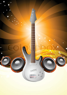 Vector of 'poster, guitar, background'