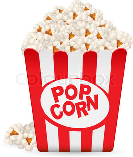 Popcorn in a striped tub Illustration on white background