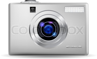 Simple digital camera Illustration on white background