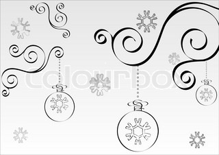 Hand drawn black and white christmas background Vector in calligraphic style