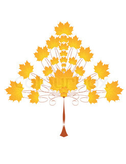 Beautiful autumn tree with yellow leaf for your design