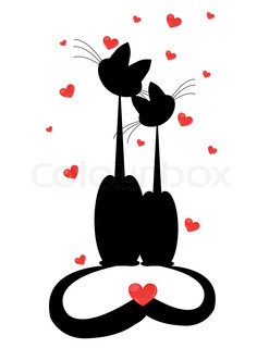 silhouettes of two cats in love Vector illustration