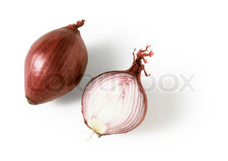 -cut red onion isolated on white background