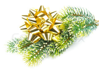 green pine tree with golden ribbon christmas and new year decoration