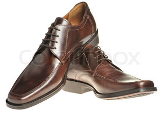 Pair a shoe a brown leather Man's shoes isolated on a white background