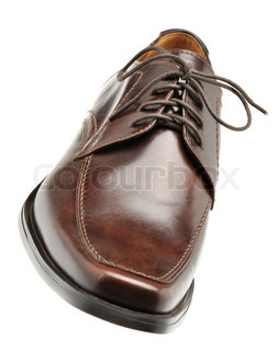shoe a brown leather Man's shoes isolated on a white background