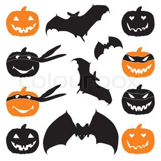 Halloween græskar hoved og flagermus
