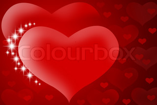Valentine's background - Two red hearts with stars