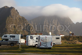 Camping in Andenes with beautiful mountain scenery in the background